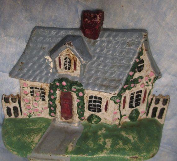 Cast Iron Painted House Cottage Doorstop Door Stop by crownhill