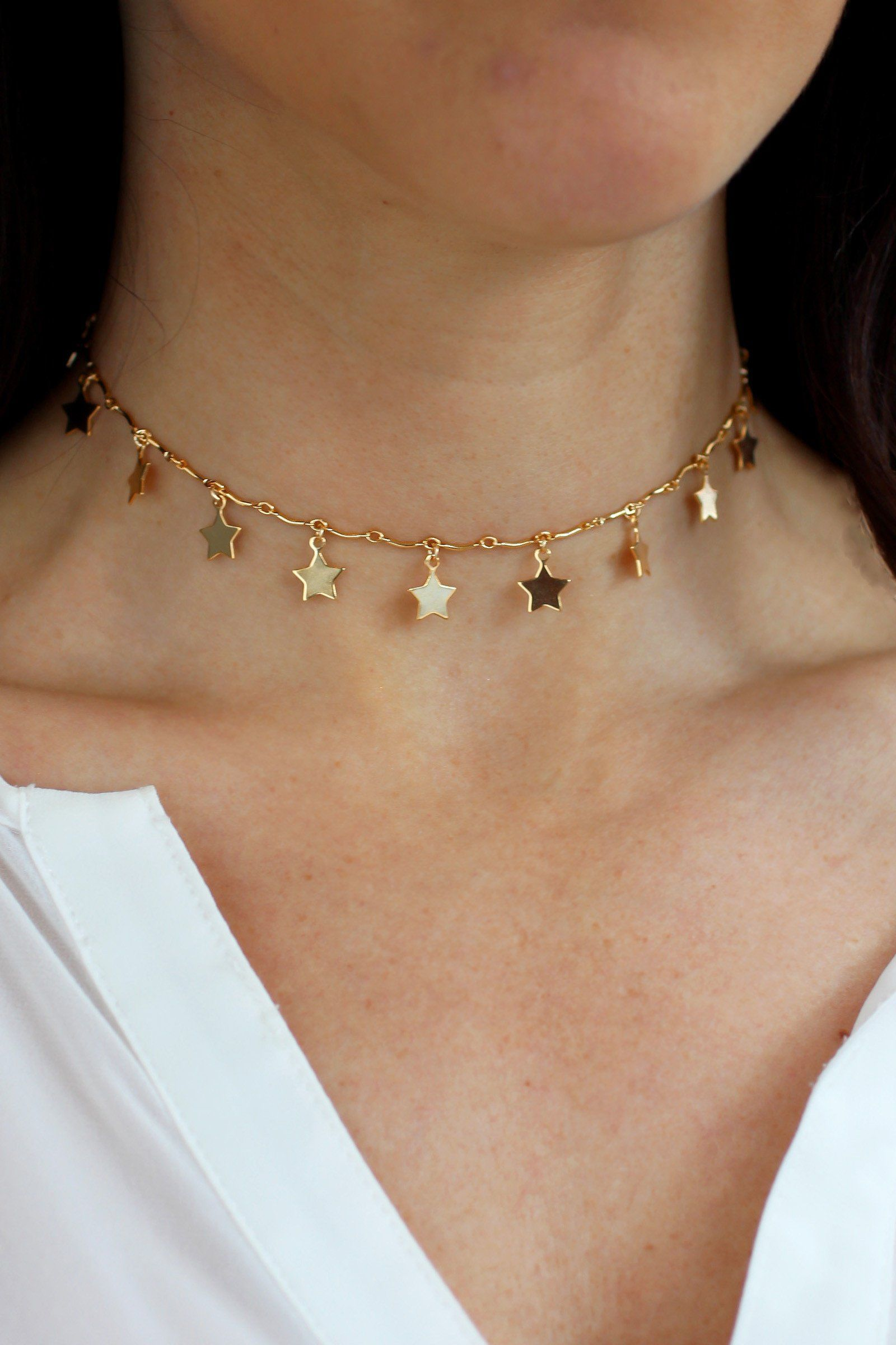 445814710 We're seeing stars over this statement choker from Christine Elizabeth  Jewelry! Intended to fit tight on the neck, the minimal bar chain is sleek  and simple ...