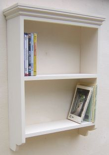A two shelf painted pine wall unit with an open back and available in  eleven widths