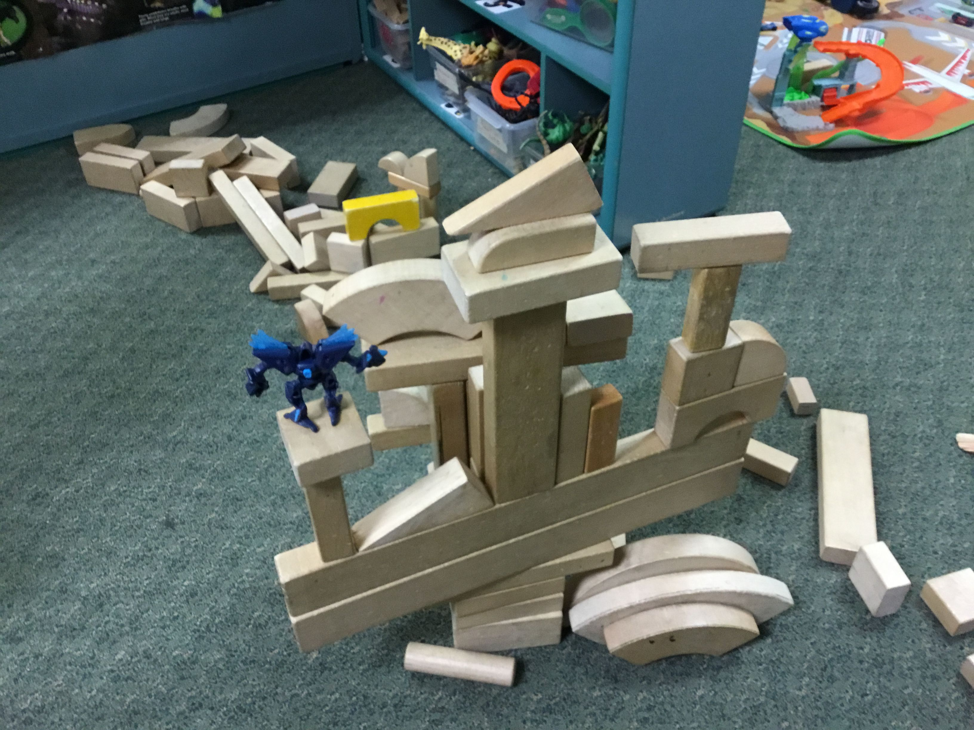 Prek iv students were building with wooden blocks tlc