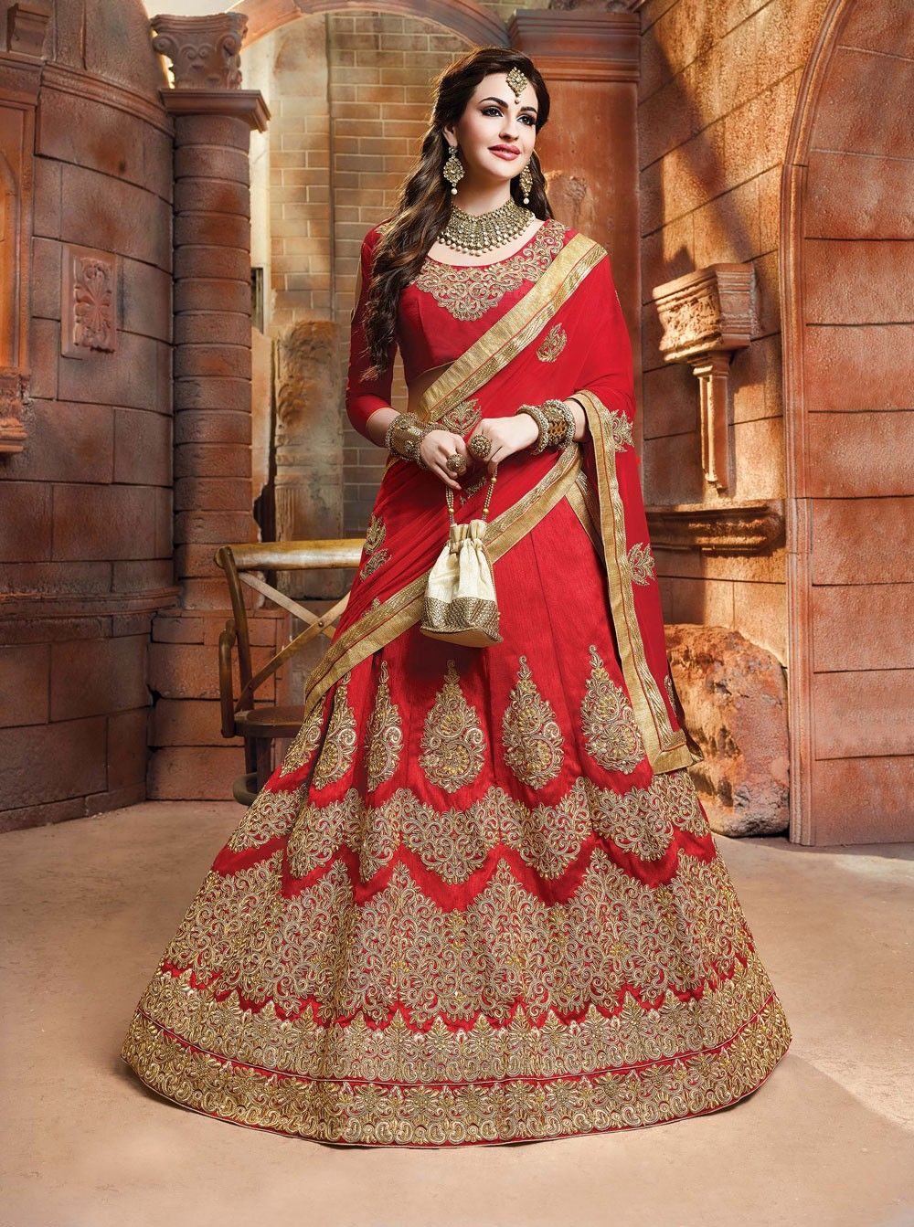 f397bbcbf4 Red Heavy Embroidered Bridal Lehenga Choli | New Lenghas | Saree ...