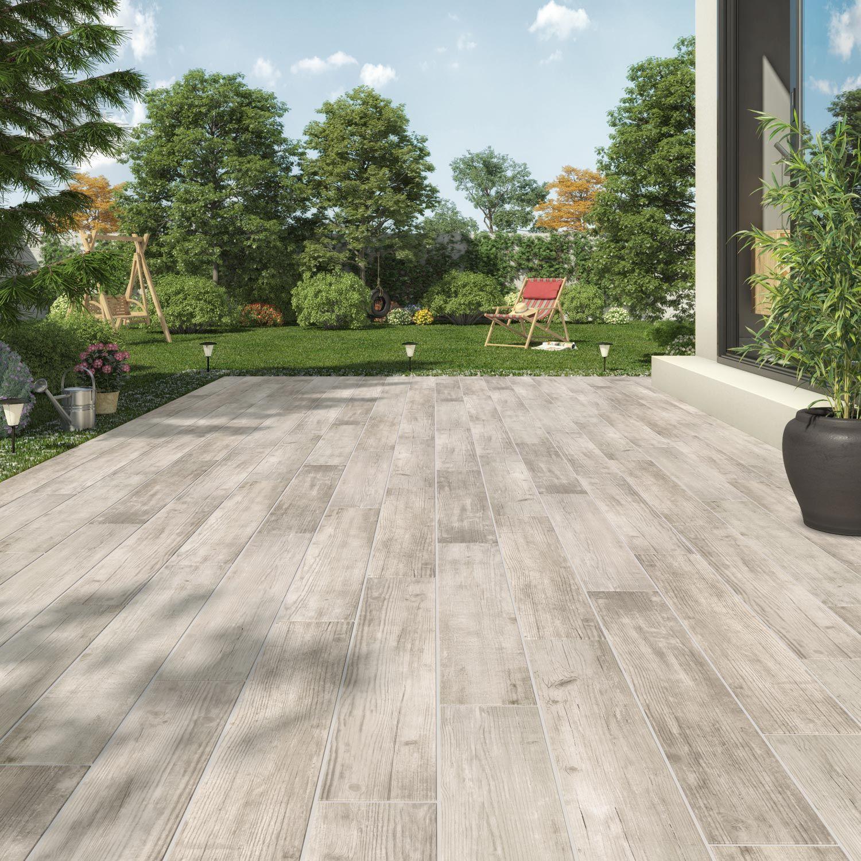 Carrelage Exterieur Imitation Bois carrelage sol extérieur forte bois blanc barbeuk l.14 x l.83