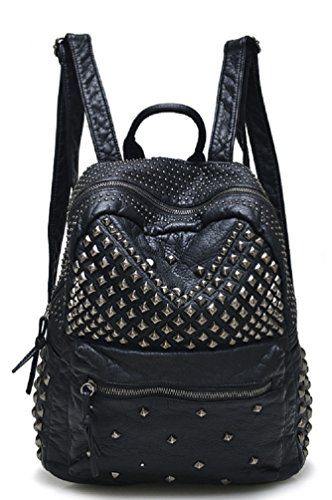 716757d94c15 Sannea Womens Studded Black Leather Backpack Casual Pack Fashion School Bags  for Girls