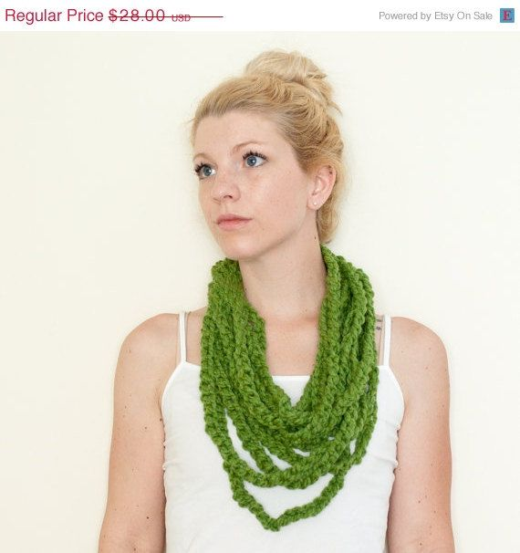 SPRING SALE crochet chain scarf lariat loop scarf by CThandmade,