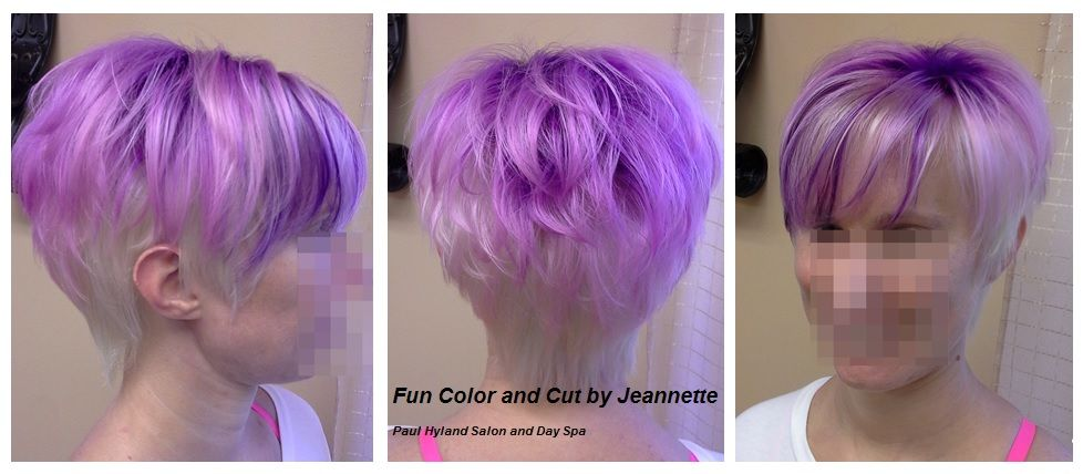 Fun short hairstyle and creative color by Jeannette,  Paul Hyland Salon and Day Spa