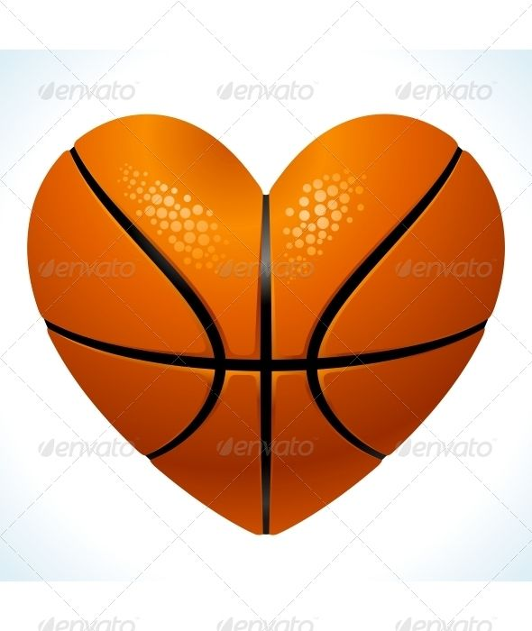 Ball For Basketball In The Shape Of Heart Basketball Heart Basketball Tattoos Basketball Theme