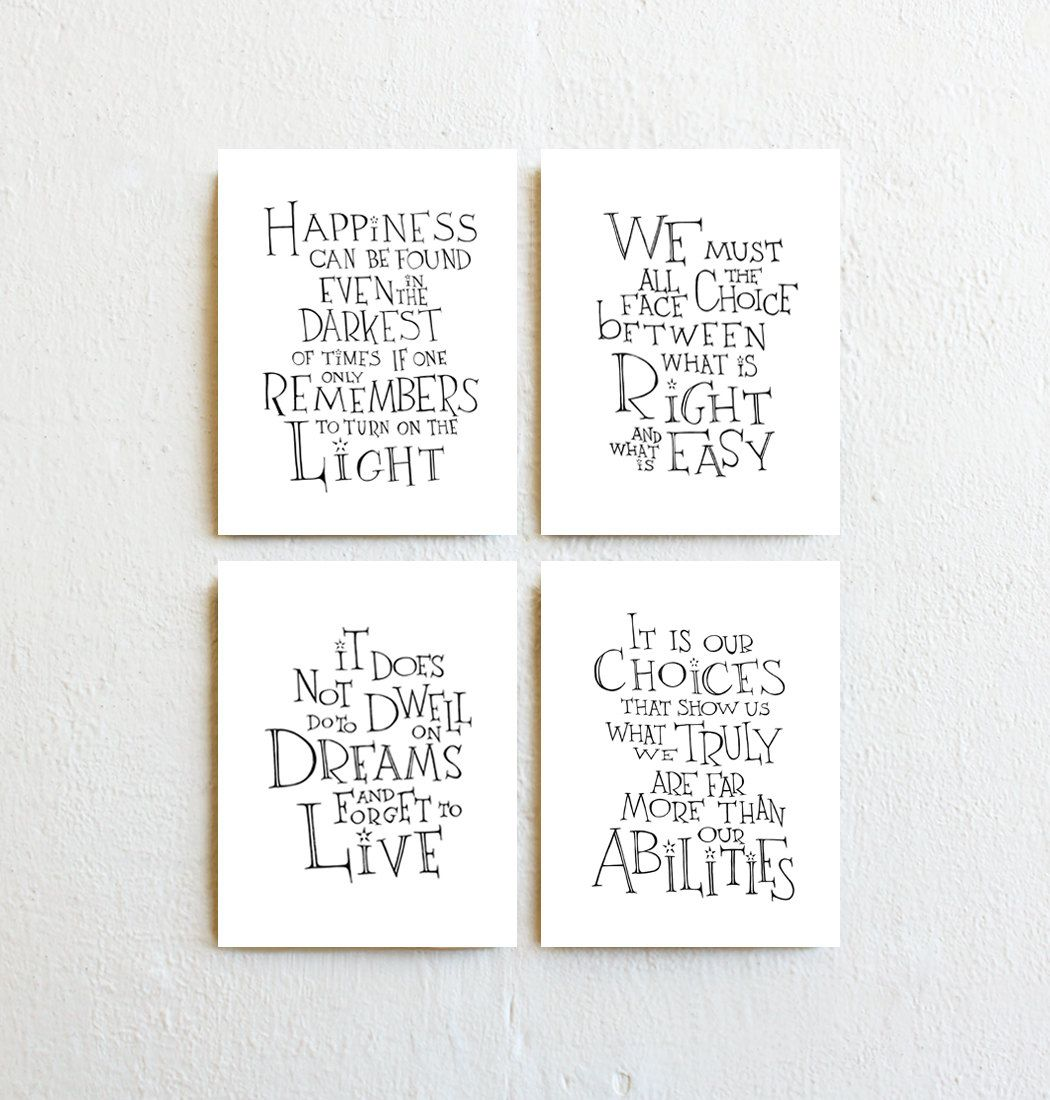 Inspirational Quotes Wall Art harry potter/albus dumbledore quote set 4 prints, inspirational