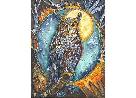 Beautiful owl painting found on   http://allinghamcarlson.com/PatriciaAllinghamCarlson/children_earth.htm