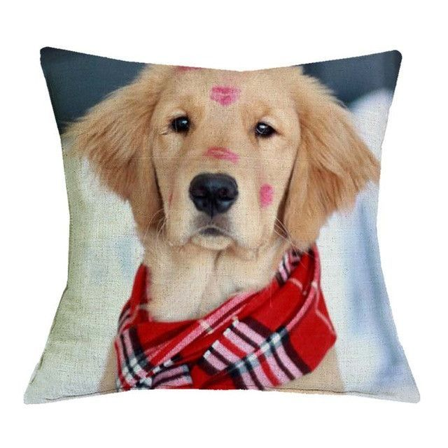 Golden Retriever Kisses With Red Scarf Pillow Cases Golden Retriever Retriever Puppy Cute Dogs