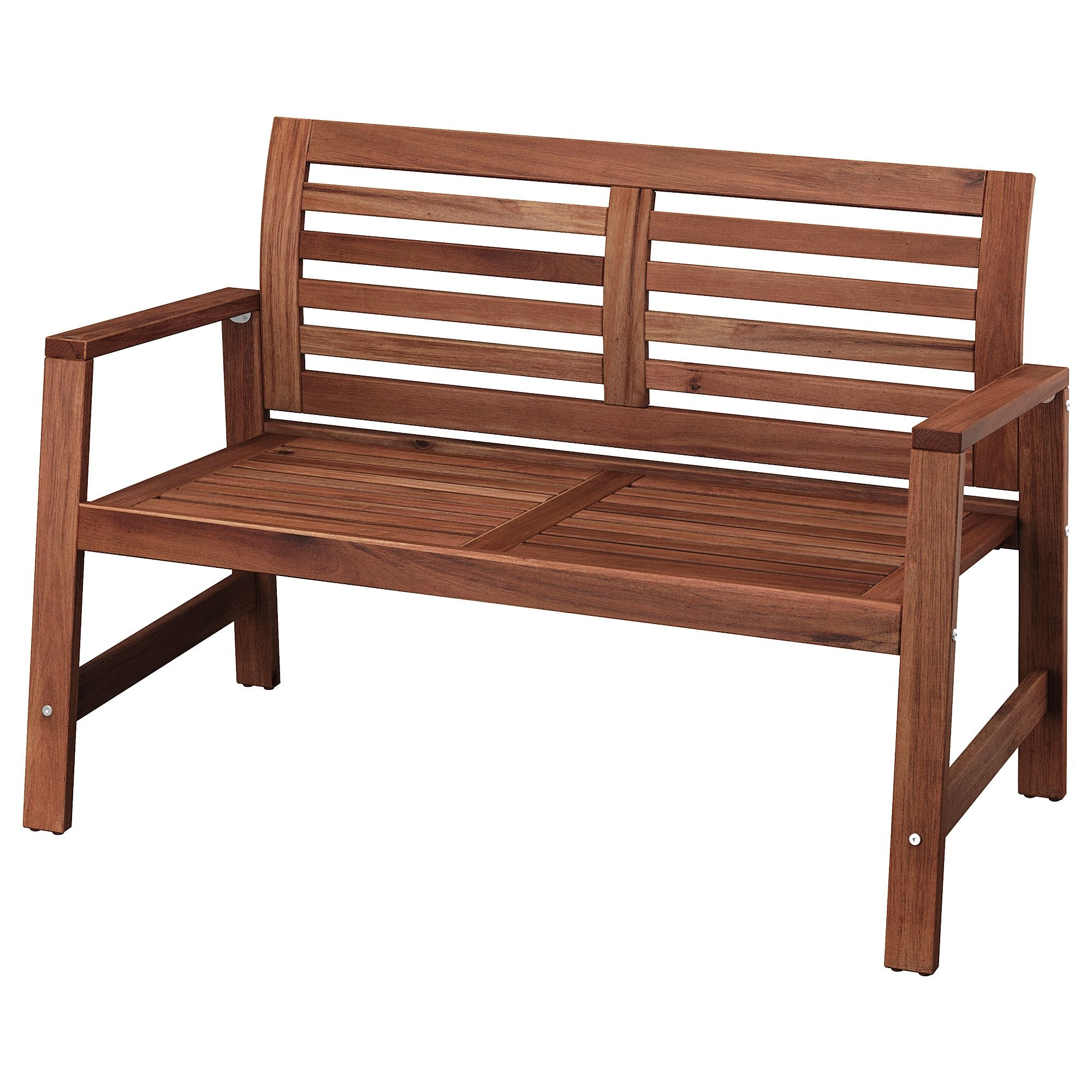Applaro Bench With Backrest Outdoor Brown Stained Brown Used