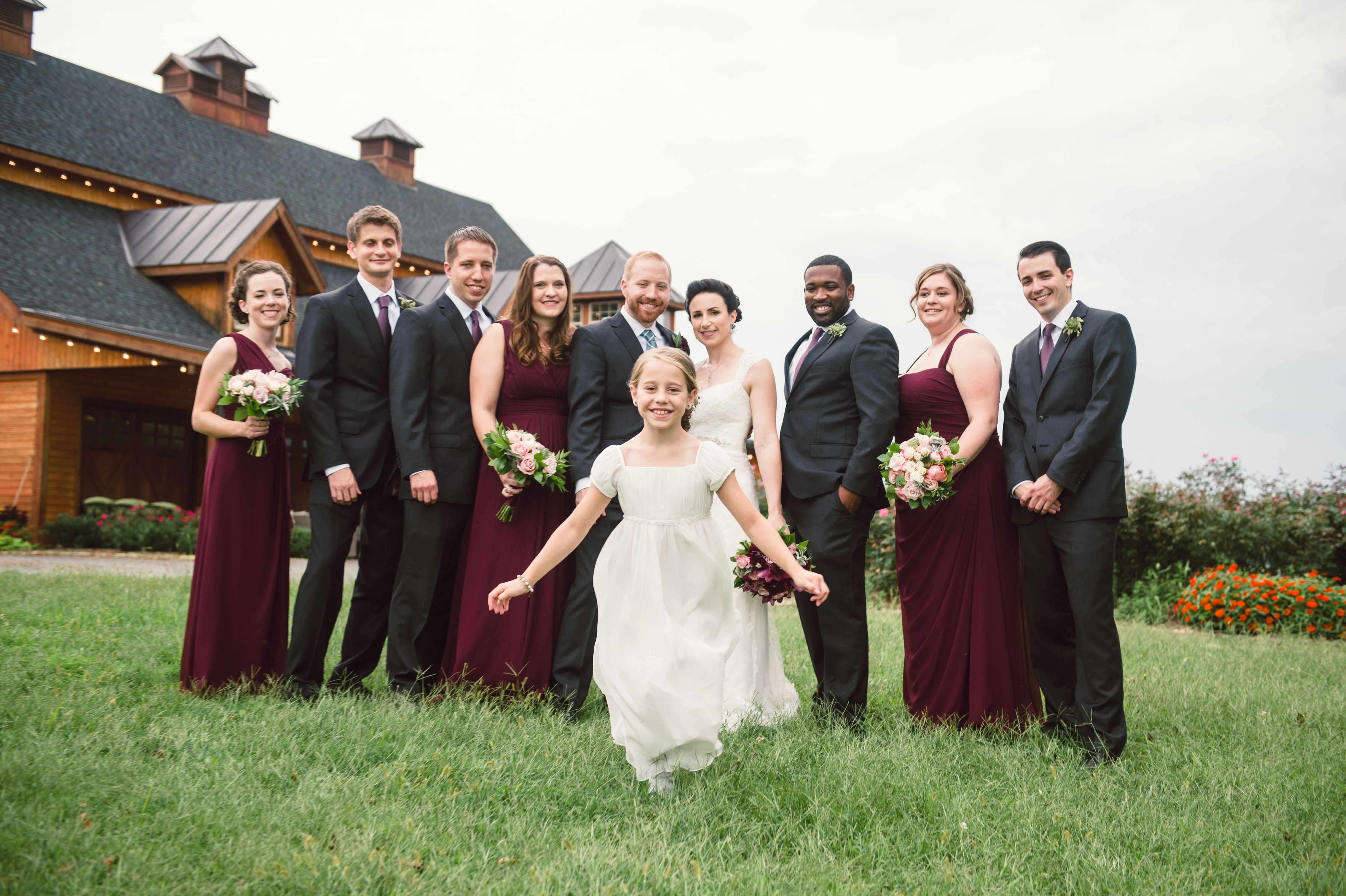 Wedding Party in Charcoal Gray and Burgundy WEDDING