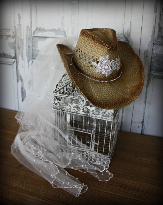 7597b4bf045 Wedding cowgirl hat-bride to be-western bride-country bride-western  wedding-rustic wedding-cowgirl hat and veil-western accessories
