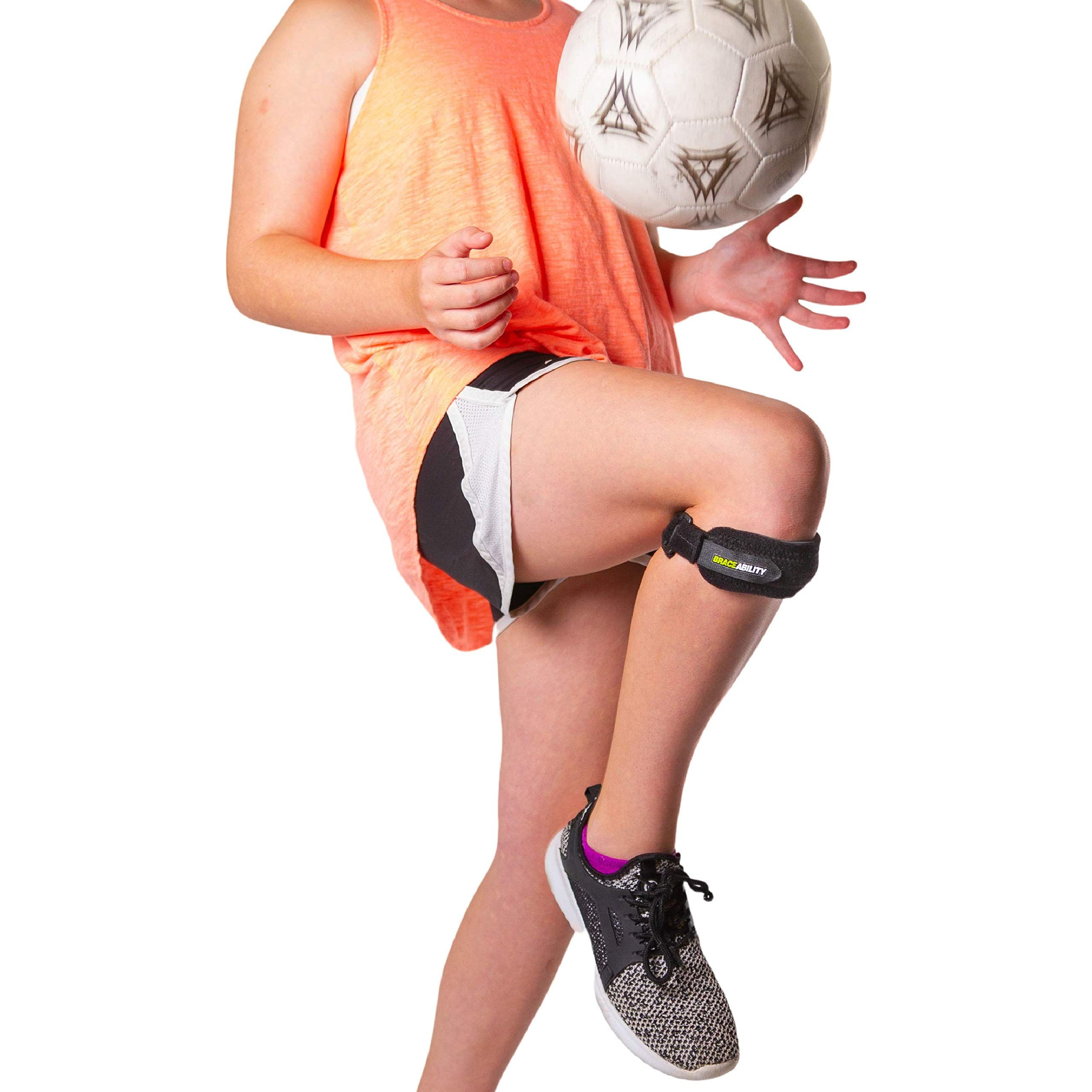 BraceAbility Kids Knee Band | Child Osgood Schlatter Strap for Jumpers Knee, Patella Tendonitis, Youth Sports Brace with Pad for Running, Soccer, Volleyball and Basketball (XS)*** Details can be found by clicking on the image. (This is an affiliate link) #sportsandoutdoors