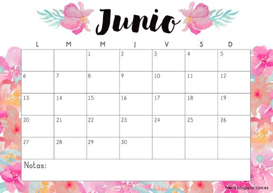 Calendario gratuito imprimible y descargable junio 2016 for Calendario junio 2016 para imprimir