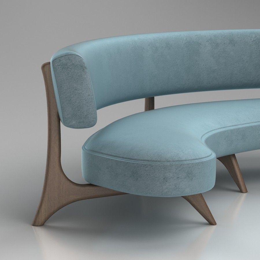 Kagan Floating Curved Sofa 3D model Files: max2012, 3ds, obj