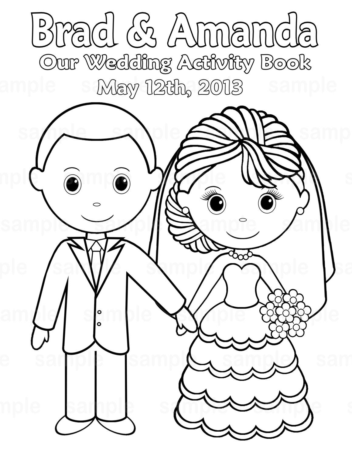printable personalized wedding coloring activity by sugarpiestudio 400 kids wedding activitiescoloring book - Wedding Coloring Books For Children