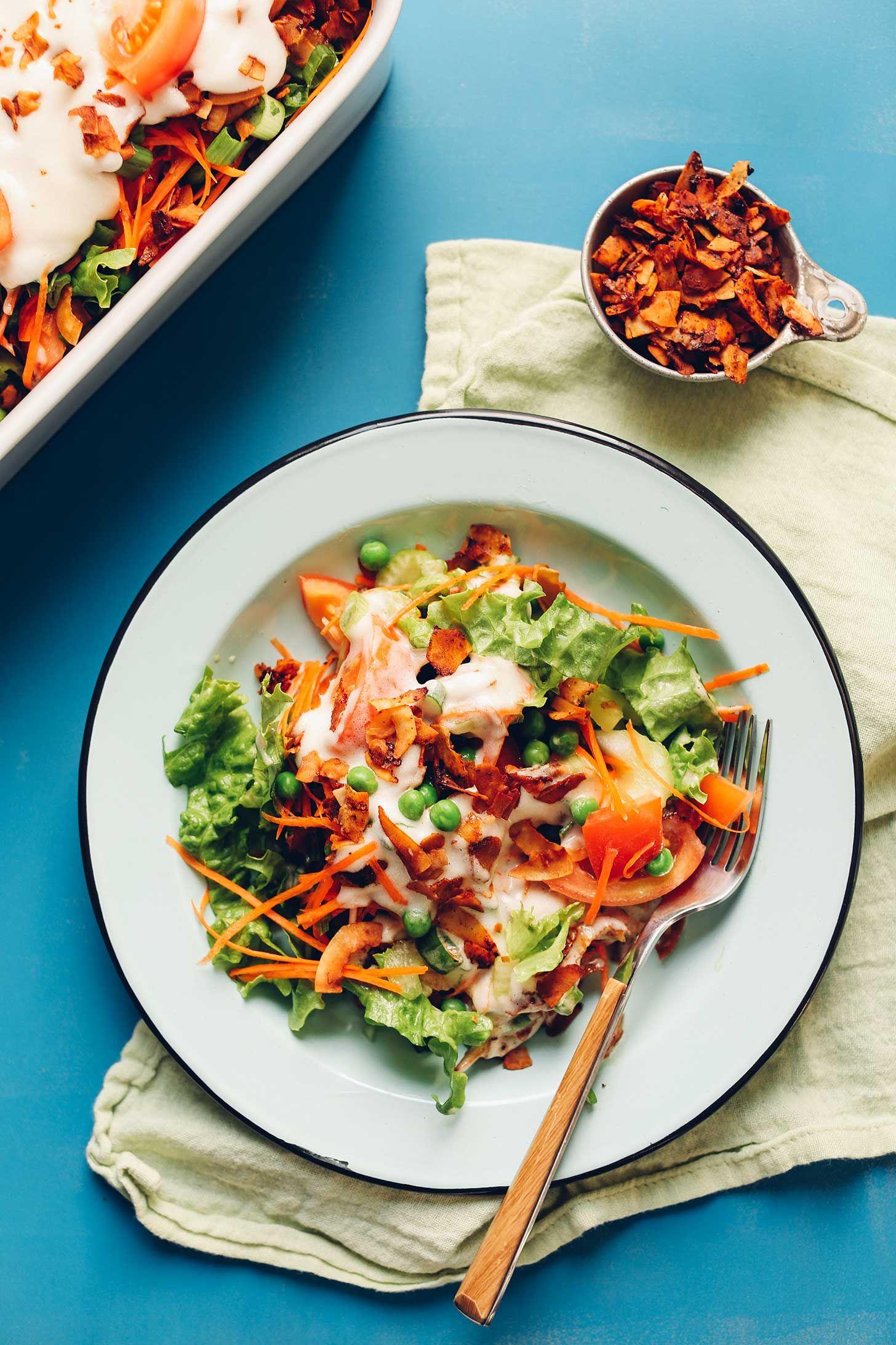 Vegan 7-Layer Salad recipe! This classic salad gets a modern, healthy twist.