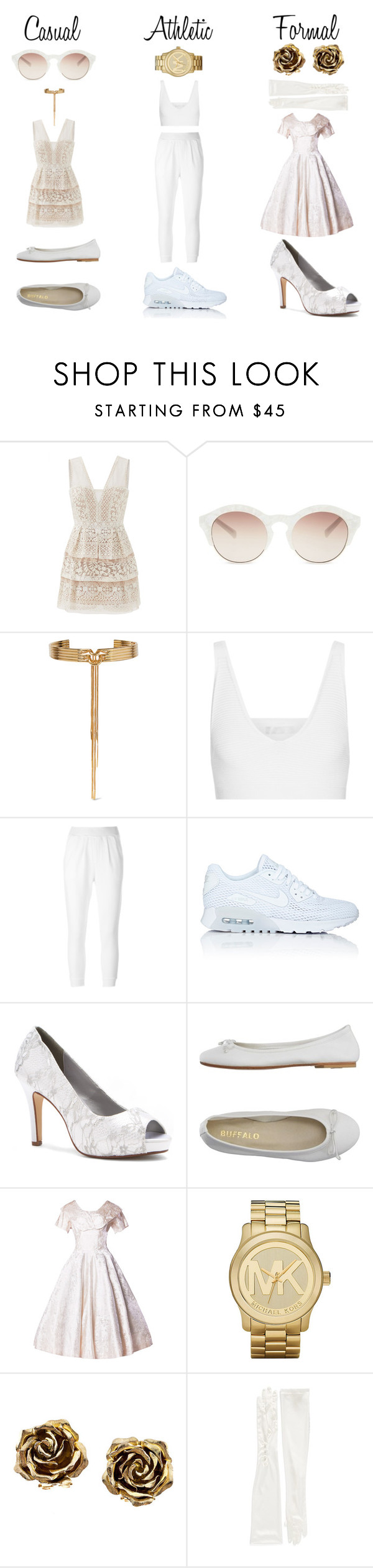 """""""The White Queen's New Clothes"""" by avmpempire ❤ liked on Polyvore featuring BCBGMAXAZRIA, self-portrait, Eddie Borgo, Cushnie Et Ochs, Maison Kitsuné, NIKE, Dyeables, DIENNEG, Michael Kors and Tiffany & Co."""