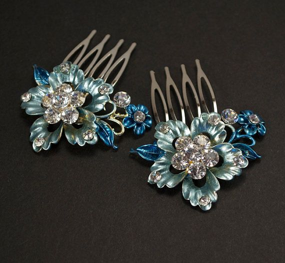 Blue Hair Flowers, Crystal Hair Combs, Something Blue, Hairpiece, Bridal Hair Comb Set, Wedding Hair Accessories - Ready to Ship via Etsy