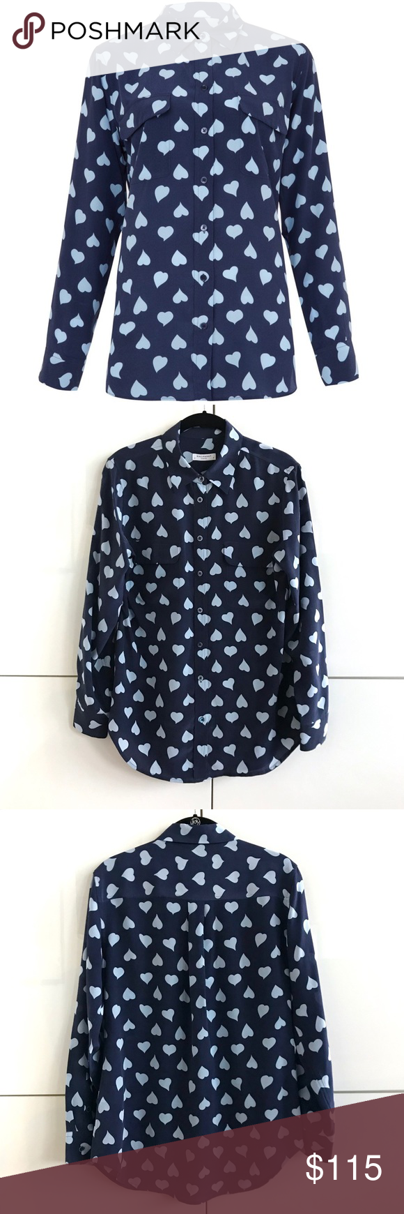 60584b09b5426 NWOT Equipment Signature Heart Print Silk Shirt 🆕 NWOT Equipment Signature  Heart Print Silk Shirt
