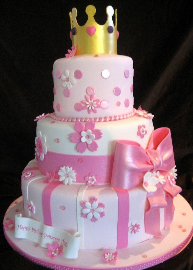 princess birthday party ideas for girls | Three tier princess cake ...