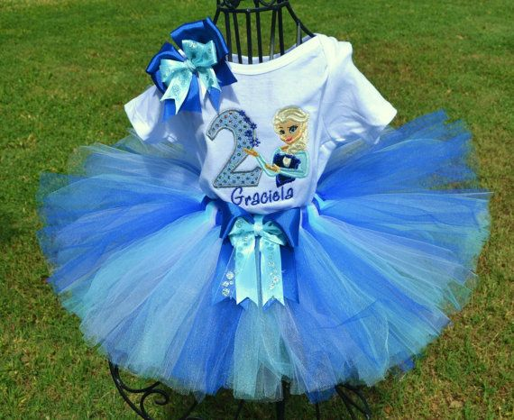 1st 2nd 3rd 4th 5th 6th 7th Birtday Princess Frozen Elsa Blue Tutu Outfit Shirt