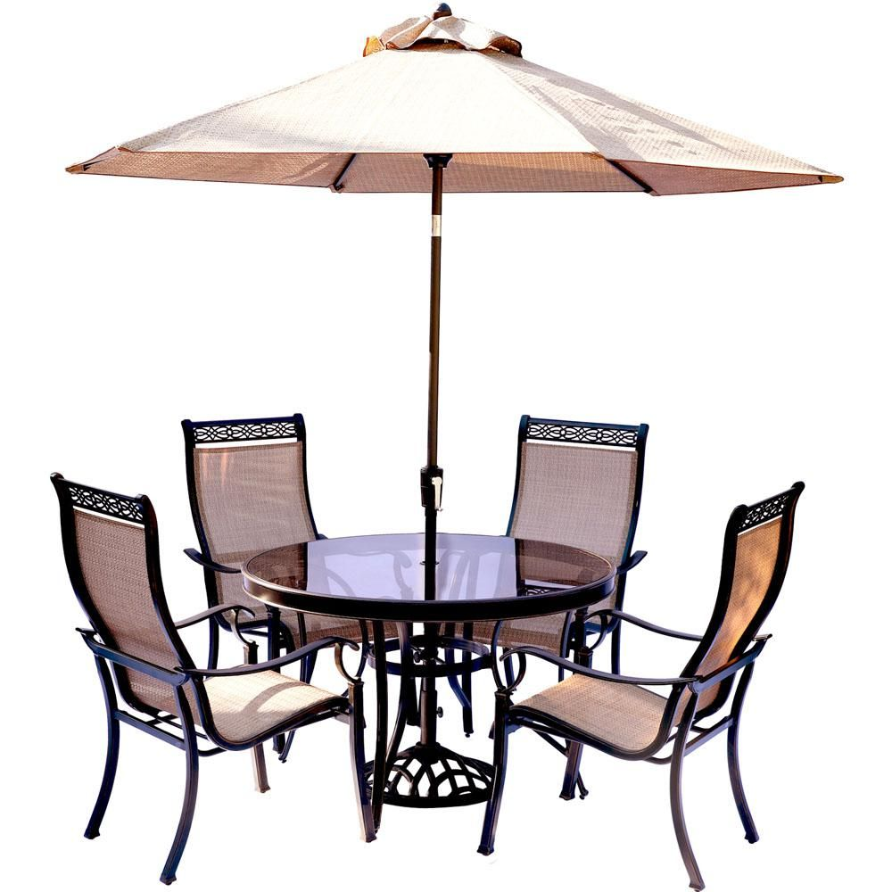 Glass patio table and chairs - Hanover Monaco 5 Piece Outdoor Dining Set With Round Glass Top Table And Contoured