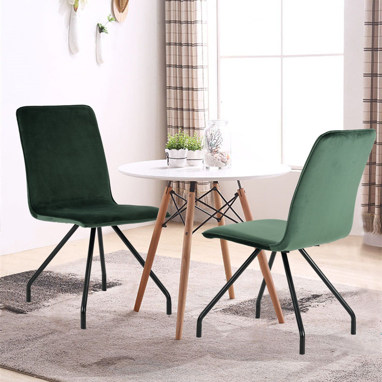 GreenForest Dining Chairs Velvet Cusion Wood Transfer Metal Legs ...