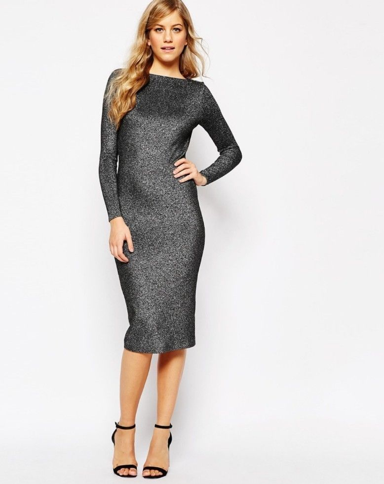 3c257704e8490 Ted Baker Sz 0 US 2 Long Sleeve Midi Dress Dafney Metallic Silver *missing belt  in Clothing, Shoes & Accessories, Women's Clothing, Dresses | eBay