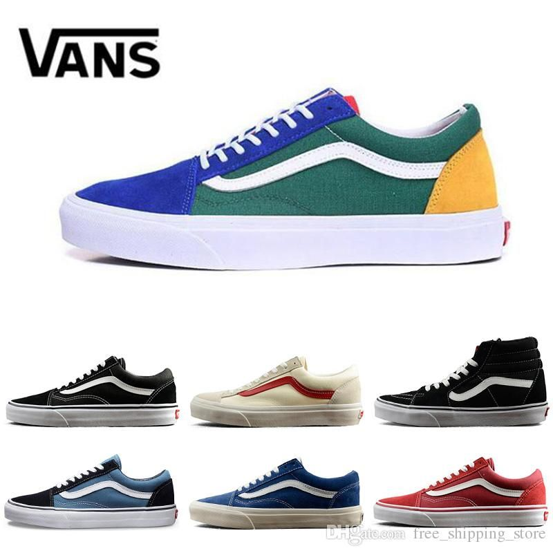 751230d71233 New Arrival Original Vans Old Skool Shoes Black Blue Red Classic Mens Women  Canvas Sneakers Fashion
