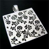 Sterling Silver Plated Flower Design Etched Back Photo Jewelry Pendant Made In USA