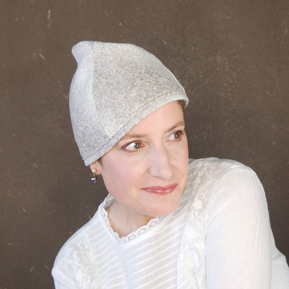 Cognoscenti : Ladies spring cap in beige and white wool, sewn turban hat, brimless cloche, modern madcap, handmade millinery, easter bonnet