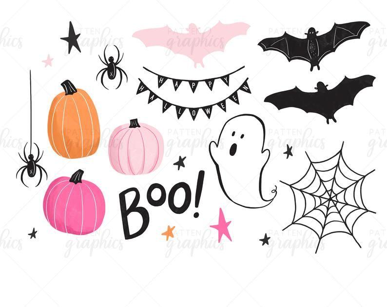 Cute Halloween Clipart Pink Halloween Clipart Pink Pumpkin Etsy In 2021 Pink Halloween Halloween Clipart Cute Halloween