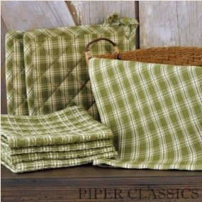 Sturbridge Pattern from Park Designs is perfect for decorating your country home. A traditional country plaid in warm leaf green and creamy beige. Coordinate with our Placemats and Runners. Piper Classics