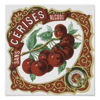 Sans l'étiquette vintage d'Alcool de Cerises Affiche