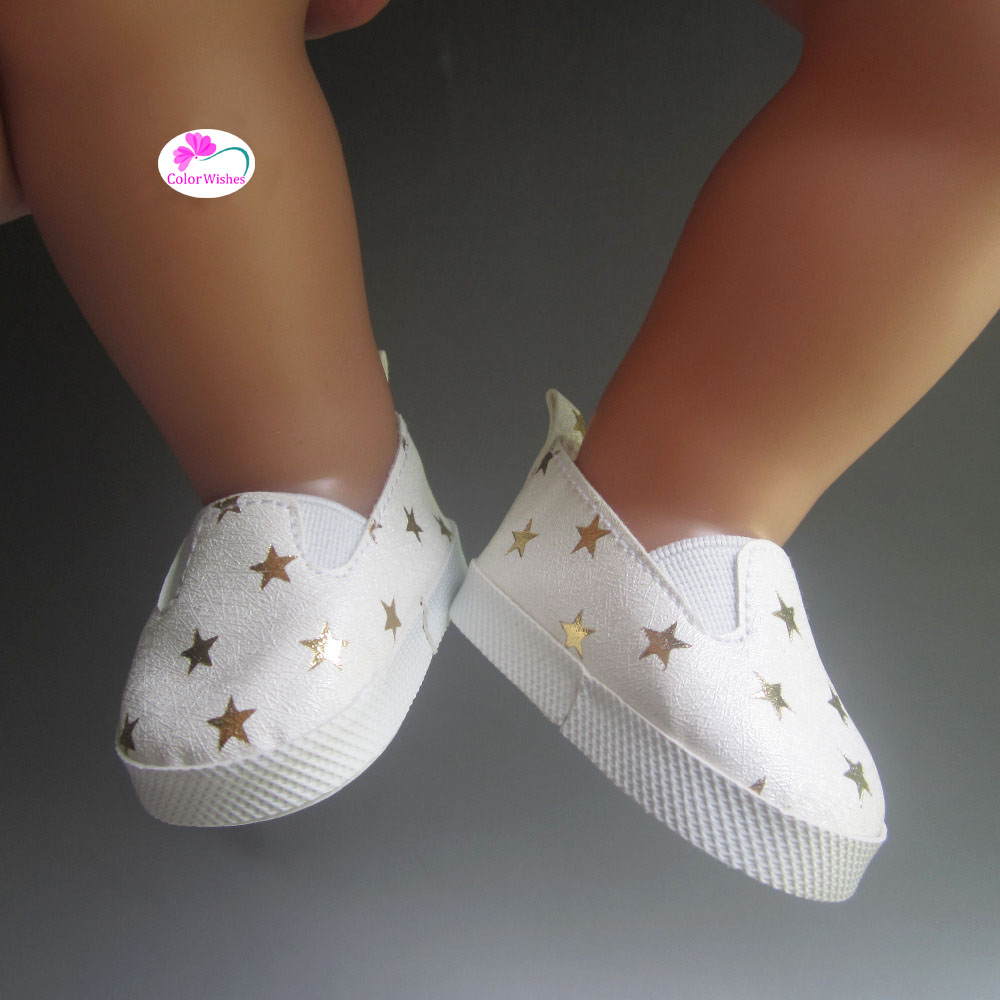 ada856c3 Aliexpress.com: Comprar Zapatillas de deporte blancas zapatos para muñecas  de moda fit 43 cm bebé nacido zapf muñecas Accesorios de shoes for dolls  fiable ...