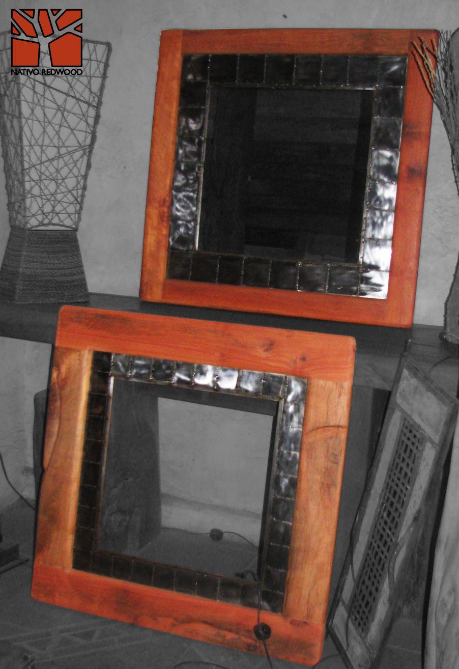 Nativo Redwood. Espejos con marco de Roble rústico con marco ...