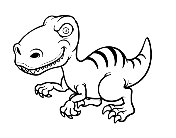 Dinosaurio Para Colorear Para Para 2 Saurios Para Online: Dibujo De Dinosaurio Velociraptor Para Colorear