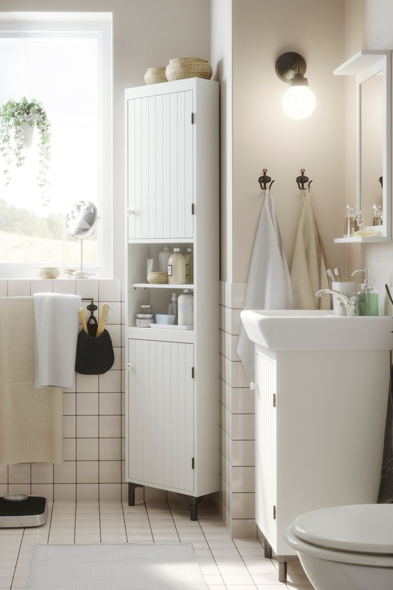 Silveran Hochschrank Mit 2 Turen Weiss 40x25x172 Cm In 2020 Kleine Badezimmer Design Kleine Badezimmer Kleines Badezimmer Umgestalten