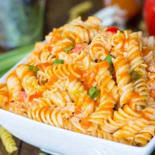 Buffalo Chicken Style Pasta Salad #buffalochickenpastasalad