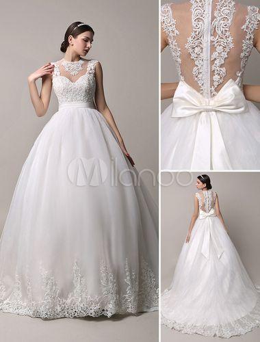 Marfim decote enorme bola vestido de casamento vestido com laço de ilusão volta - Milanoo.com