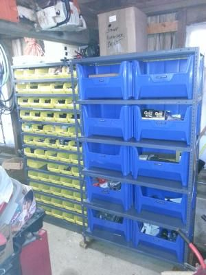 Quantum Storage Metal Shelving Unit With 10 Giant Hopper Bins 42in W X 18in D X 75in H Blue Model Qsbu 700bl Metal Shelving Units Shelving Unit Storage