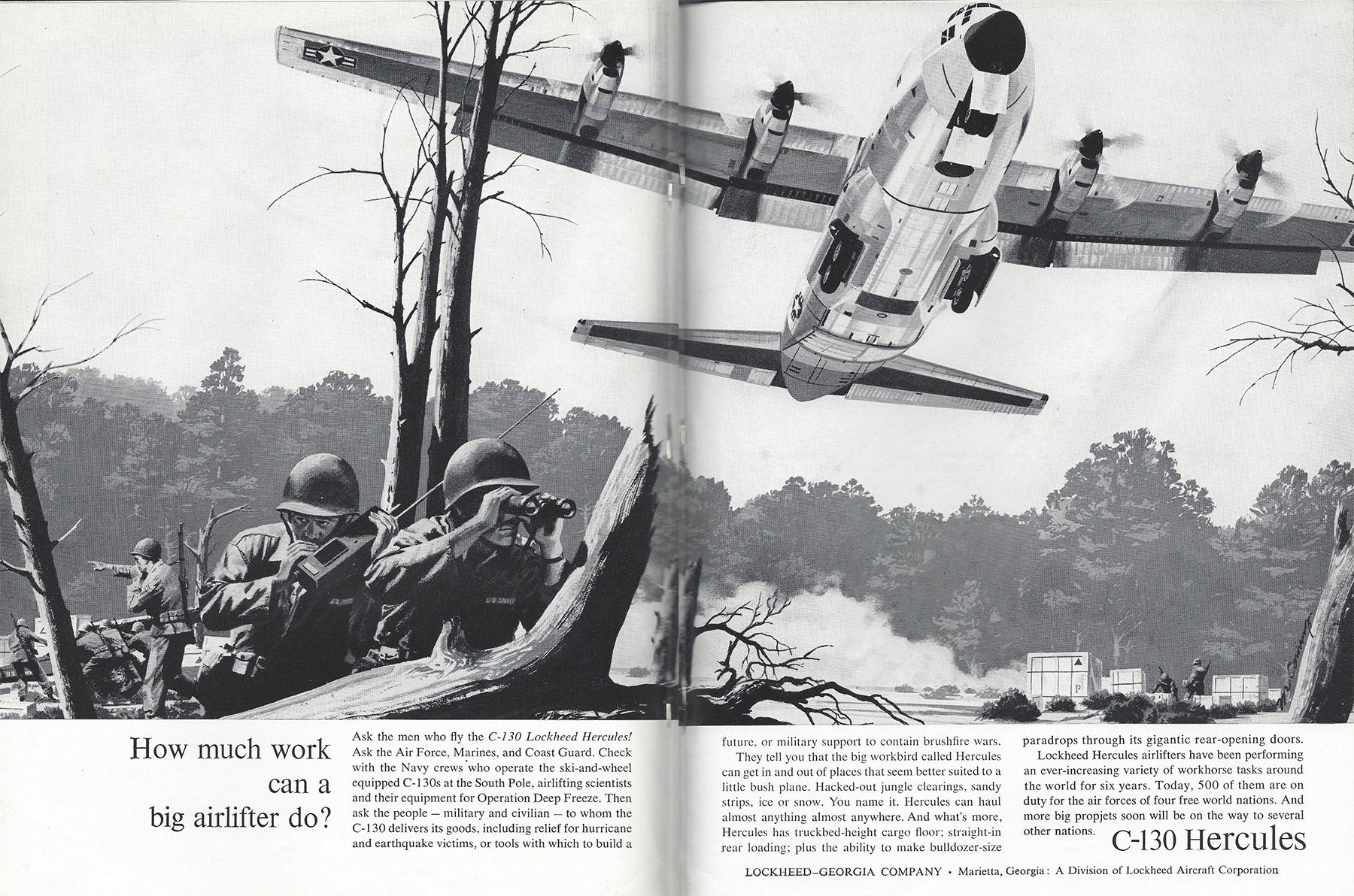 """Lockheed took out a double-page spread in Aviation Week in 1963, nine years after first flight of the C-130 Hercules, to ask: """"how much work can a big airlifter do?"""" At the time, 500 C-130s were on duty for four nations."""