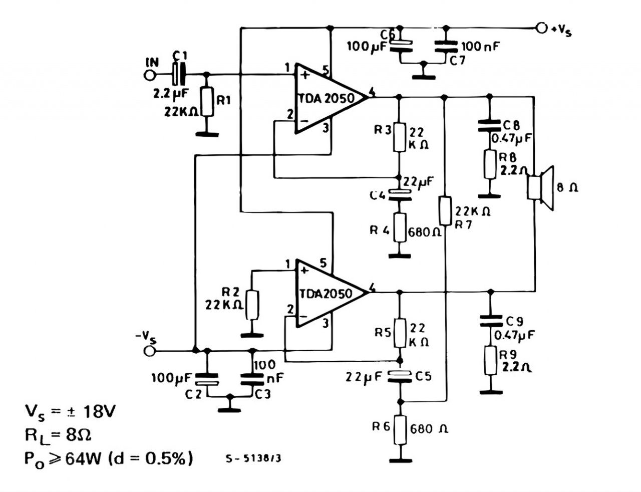 tda 2050 simple amp circuit bridge