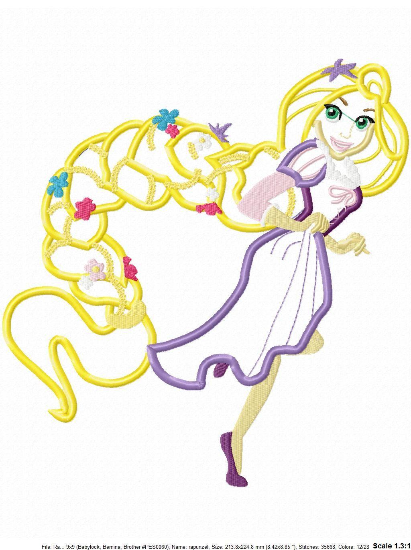 Ra rapunzel coloring pictures - Rapunzel Applique Design Rapunzel Embroidery Design Rapunzel Applique Design Princess Applique Design