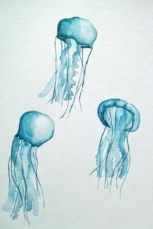 Méduses à la peinture aquarelle