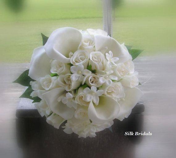 Ivory Cream Rosebuds Calla Lilies Bridal Bouquet by SilkBridals, $59.99