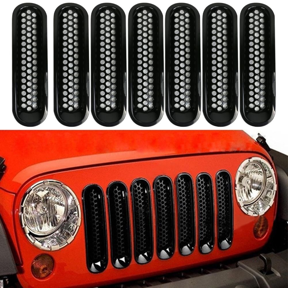For 07-16 Jeep JK Wrangler Car Front Mesh Grille Cover Front Grille ...