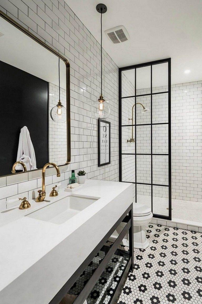 50 Stunning Black And White Subway Tiles Bathroom Design With Images Modern Farmhouse Bathroom White Bathroom Designs Farmhouse Bathroom Decor