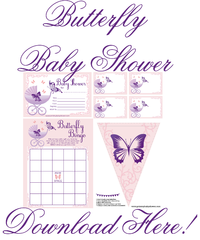 Butterfly Baby Shower Printable Invitations And Decorations ...